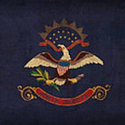 North Dakota State Flag Art On Worn Canvas Art Print