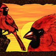 Northern Cardinals At Sunrise Art Print