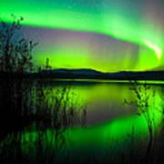 Northern Lights Mirrored On Lake Art Print