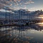 Northwest Marina Sunset Sunstar Art Print