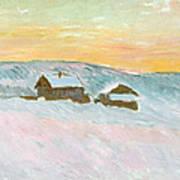 Norwegian Landscape, Blue Houses, 1895 Art Print