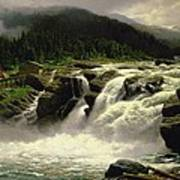 Norwegian Waterfall Print by Karl Paul Themistocles van Eckenbrecher