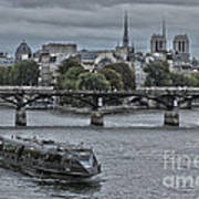 Notre Dame And Boat On The River Seine Paris Art Print