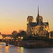 Notre Dame Cathedral At Sunset Paris France Art Print