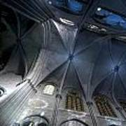 Notre Dame Ceiling In Blues Art Print