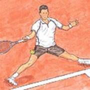 Novak Djokovic Sliding On Clay Art Print by Steven White