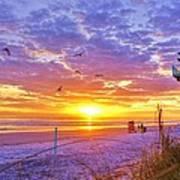 Nsb Lifeguard Station Sunrise Art Print