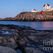 Nubble Light Along Maine's Rugged Coast York Beach Maine Art Print