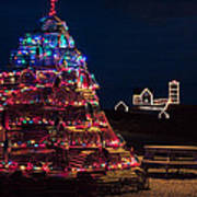 Nubble Lighthouse And Lobster Pot Tree Art Print