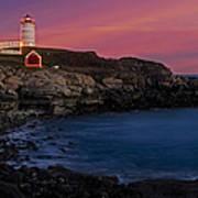 Nubble Lighthouse At Sunset Art Print