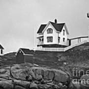 Nubble Lighthouse Cape Neddick Maine Black And White Art Print