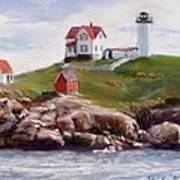 Nubble Lighthouse In Pastel Art Print