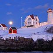 Nubble Lighthouse Winter Moon Print by John Burk