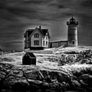 Nubble Night Art Print by Tricia Marchlik