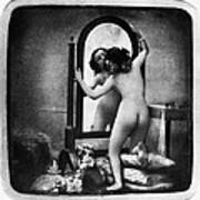 Nude And Mirror, C1850 Art Print