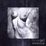 Nude Details - Digital Color Version Frame Blue Art Print