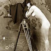 Nude In High Heel Shoes With Studio Camera Circa 1920 Art Print