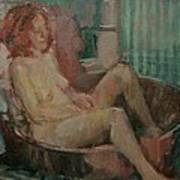 Nude In Old Tub, 2008 Oil On Canvas Art Print