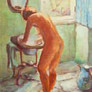 Nude In The Bathroom Art Print