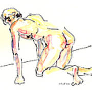Nude Male Drawings 3w Art Print
