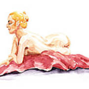 Nude Model Gesture Xiv Resting On Red Art Print