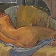 Nude On Chaise Longue Art Print