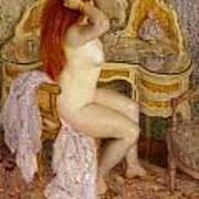 Nude Seated At Her Dressing Table Art Print
