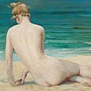 Nude Seated On The Shore Art Print