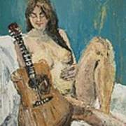 Nude With Guitar Art Print