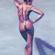Nude Woman In Finger Strokes Art Print