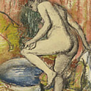 Nude Woman Wiping Herself After The Bath Art Print