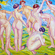 Nudes Dancing In A Ring Art Print