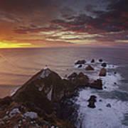 Nugget Point Lighthouse At Sunrise Art Print