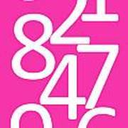 Numbers In Pink And White Art Print