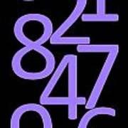 Numbers In Purple And Black Art Print