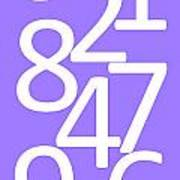 Numbers In White And Purple Art Print
