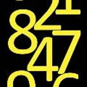Numbers In Yellow And Black Art Print