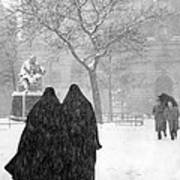 Nuns In Snow New York City 1946 Art Print