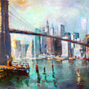 Ny City Brooklyn Bridge II Art Print