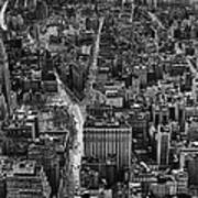 Nyc Downtown - Black And White Art Print