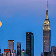 Nyc Under The Supermoon Art Print