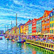 Nyhavn In Denmark Painting Art Print