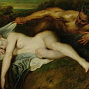 Nymph And Satyr Art Print