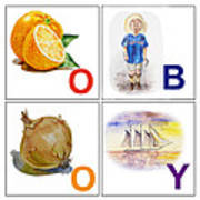 O Boy Art Alphabet For Kids Room Art Print by Irina Sztukowski