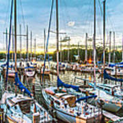 Oak Pt Harbor At Sundown Art Print