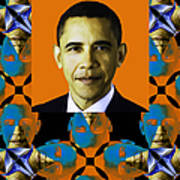Obama Abstract Window 20130202verticalp28 Print by Wingsdomain Art and Photography