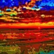 Landscape Ocean Sunset Art Print