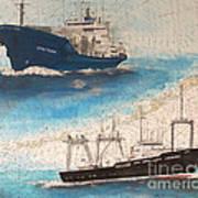 Ocean Phoenix And Excellence Boat Nautical Chart Map Art Art Print