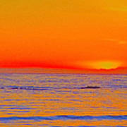 Ocean Sunset In Orange And Blue Art Print