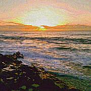 Ocean Sunset In San Diego Art Print